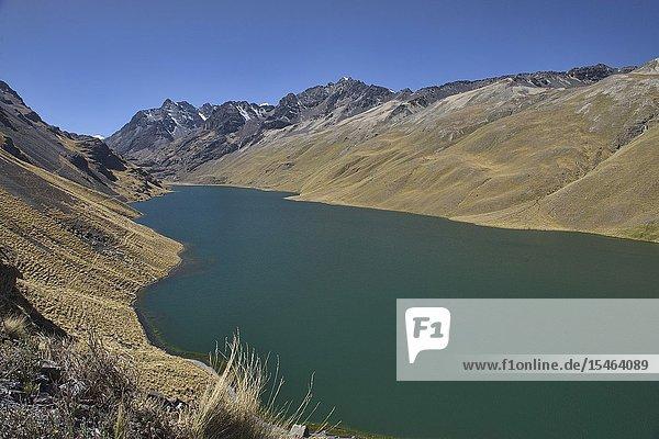 View of Laguna Quta Thiya along the Cordillera Real Traverse  Bolivia.