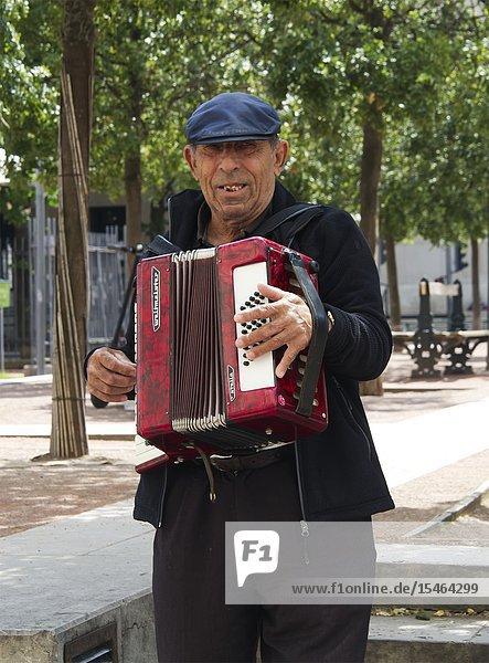 Man playing accordian at Cafe Francais  Place Antonin Poncet  Lyon  France.