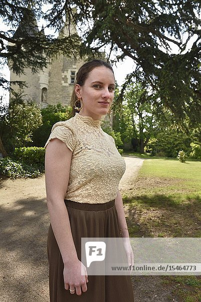 Young woman at the Chateau de Montresor  Touraine  department of Indre-et-Loire  Centre-Val de Loire region  France  Europe.