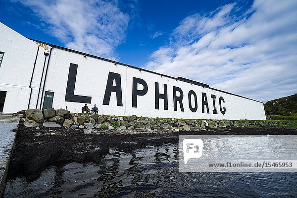 View of Laphroaig Distillery on island of Islay in Inner Hebrides of Scotland  UK.