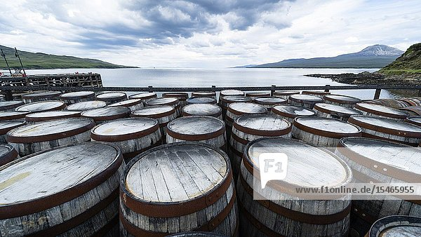 View of whisky barrels at Bunnahabhain Distillery on island of Islay in Inner Hebrides of Scotland  UK.