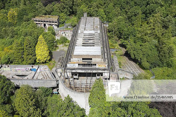 Elevated view of ruined building of former St Peter's Seminary in Cardross  Argyll and Bute  Scotland  UK. Grade A listed  Architect Gillespie Kidd & Coia.