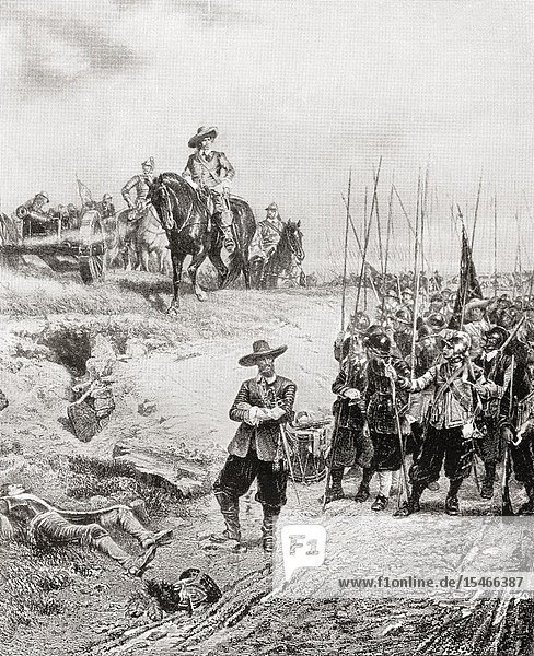 """Oliver Cromwell at The Battle of Marston Moor  2 July 1644  during the First English Civil War. Oliver Cromwell  1599 â. """" 1658. English military and political leader and later Lord Protector of the Commonwealth of England  Scotland  and Ireland. From International Library of Famous Literature  published c. 1900."""