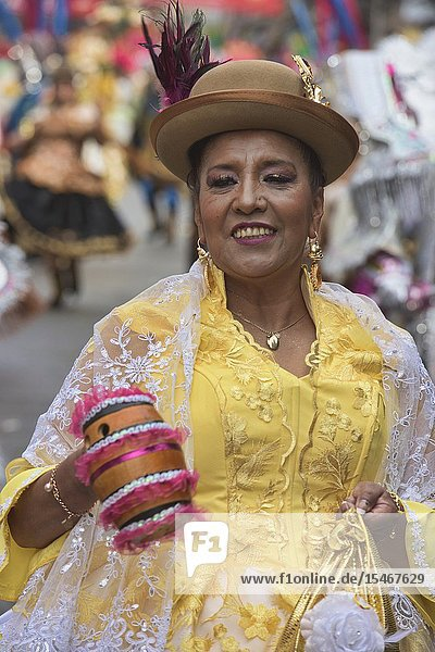 Cholita dancing at the Gran Poder Festival  La Paz  Bolivia.