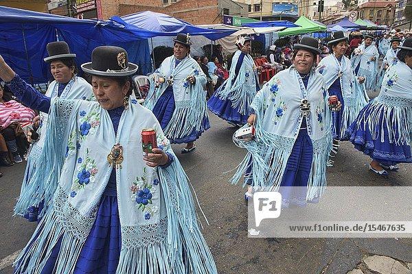 Cholitas dancing at the Gran Poder Festival  La Paz  Bolivia.