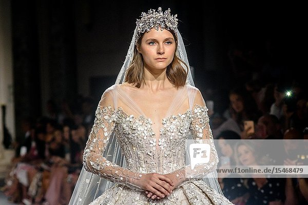 PARIS  FRANCE - July 03 : A model walks the runway at the Ziad Nakad Show during the Paris Fashion Week Haute Couture Fall Winter 2019/2020 on July 03  2019 in Paris  France. (Photo by Ahmed Hadjouti)