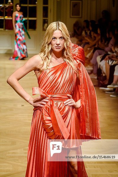 PARIS  FRANCE - June 30 : A model walks the runway during the Arunaz De Nazym Karpykova Show As part of the Oriental Fashion Show during the Paris Fashion Week Haute Couture Fall Winter 2019/2020 on June 30  2019 in Paris  France. (Photo by Ahmed Hadjouti)