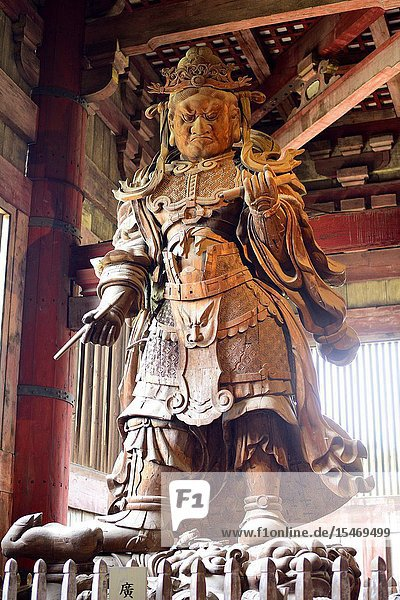 Wooden statue of Komokuten guardian  Todaiji temple  Nara  Japan  Asia.