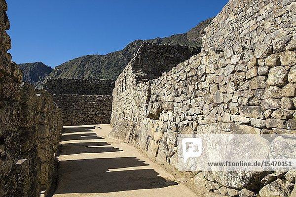 Peru  Machu Picchu  Ruins of Inca Empire city and Huaynapicchu Mountain in Sacred Valley.