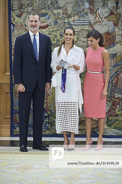 King Felipe VI of Spain  Queen Letizia of Spain  Ona Carbonnel during an audience at Zarzuela Palace on July 23  2019 in Madrid  Spain