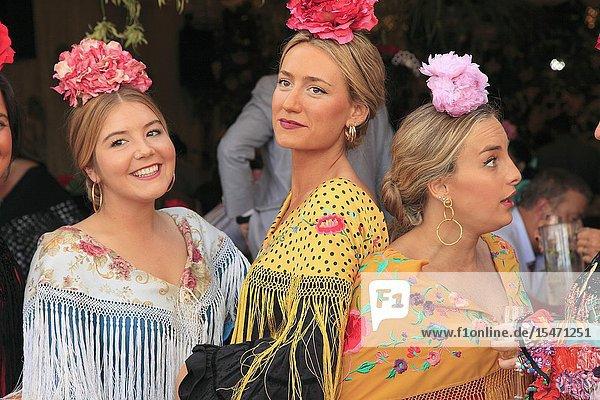 Spain  Andalusia  Seville  Feria  fair  festival  people  women .