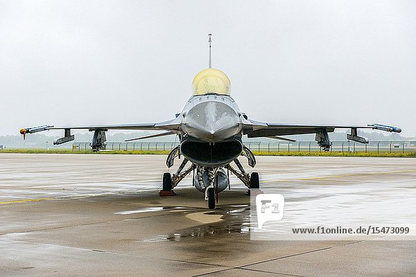 Eindhoven  Netherlands. F16 Fighting Falcon jet parked on the Eindhoven Welschap airforce base  waiting to be deployed.