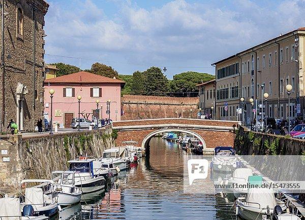 Canal in Venezia Nuova  Livorno  Tuscany  Italy.