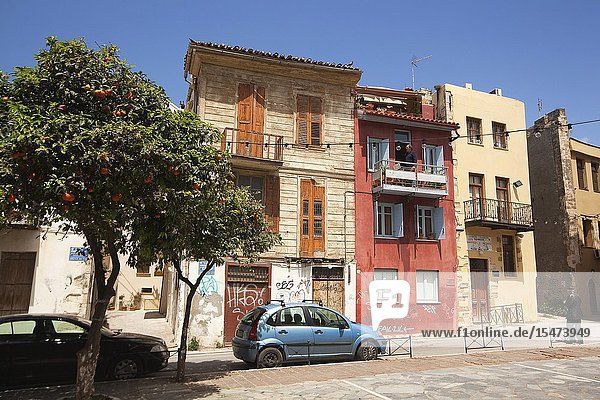 View to the old houses at the town center  Chania  Crete  Greek Islands  Greece  Europe