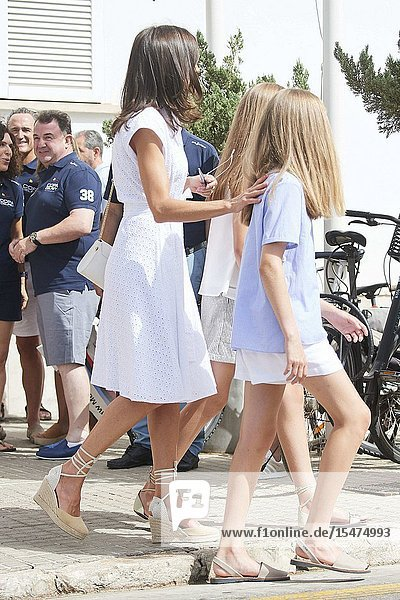 Crown Princess Leonor  Princess Sofia is seen at Real Club Nautico during 38th Copa del Rey Mapfre Sailing Cup - Day 4 on August 1  2019 in Palma  Spain
