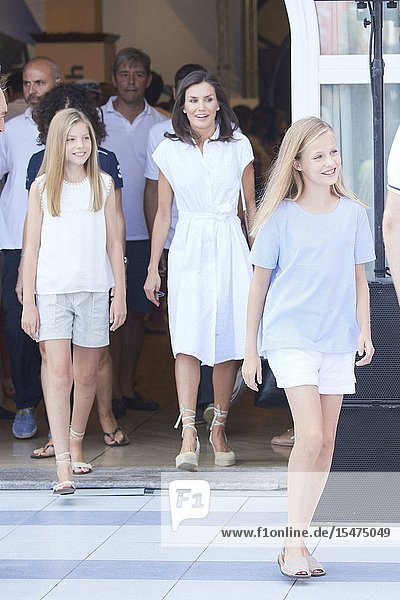 Queen Letizia of Spain  Princess Sofia  Crown Princess Leonor is seen at Real Club Nautico during 38th Copa del Rey Mapfre Sailing Cup - Day 4 on August 1  2019 in Palma  Spain