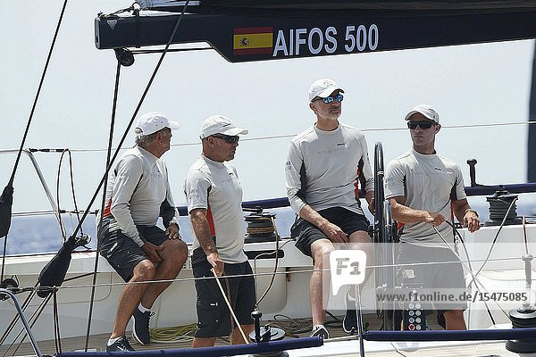 King Felipe VI of Spain on board of Aifos 500 during 38th Copa del Rey Mapfre Sailing Cup - Day 4 on August 1  2019 in Palma  Spain