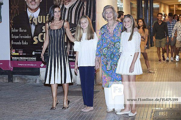 Queen Letizia of Spain  Crown Princess Leonor  The former Queen Sofia  Princess Sofia attends El lago de los cisnes (Swan Lake) at Auditorium on August 3  2019 in Palma  Spain