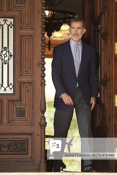 King Felipe VI of Spain attends a meeting with Pedro Sanchez  Prime Minister at Marivent Palace on August 7  2019 in Palma  Spain
