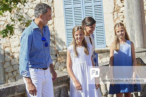 King Felipe VI of Spain  Queen Letizia of Spain  Crown Princess Leonor  Princess Sofia visited Son Marroig Museum at on August 8  2019 in Deia  Spain