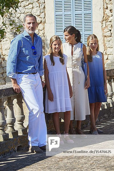 King Felipe VI of Spain  Queen Letizia of Spain  Crown Princess Leonor  Princess Sofia visited Son Marroig Museum at on August 8  2019 in Deia  Spain