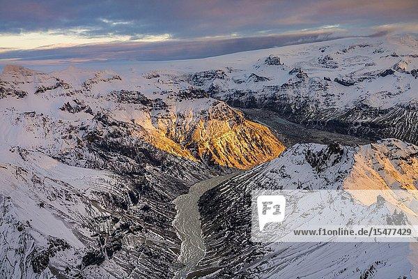 Morsarjokull glacier  Vatnajokull Ice Cap  Vatnajokull National Park  Iceland.