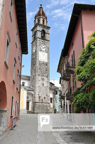 Ascona's old church tower where the Ascona Jazz Festival takes place.