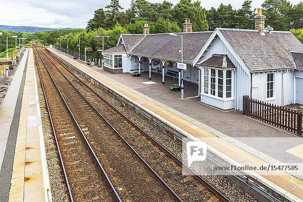 Railway station at Carrbridge  Scottish Highlands  Scotland  UK.
