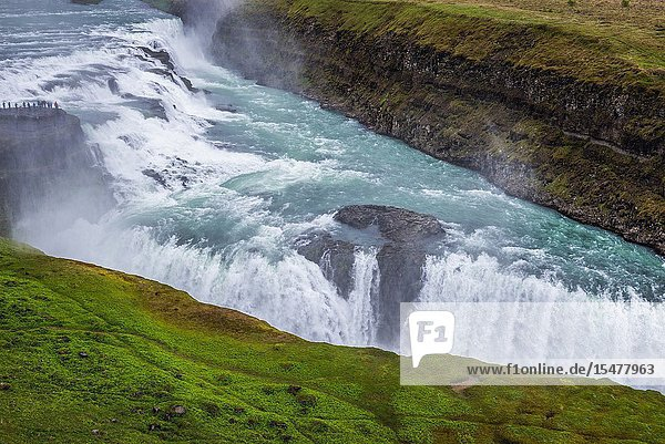Gullfoss waterfall in the canyon of the Hvita river in southwest Iceland.