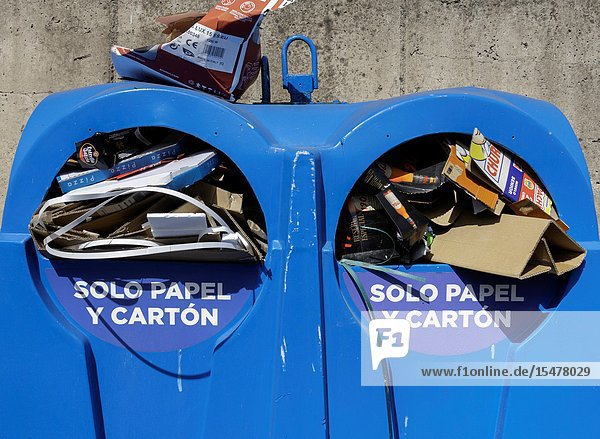 Recycling containers for paper and cardboard in street on Gran Canaria  Canary Islands  Spain.