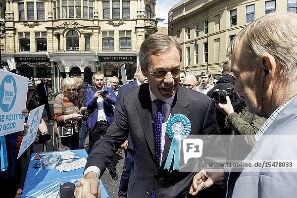 Newcastle upon Tyne  UK. 20th May 2019. UK. Nigel Farage chats to supporters and members of the public minutes before having a milkshake thrown over him while campaigning for the Brexit party in Newcastle city centre.