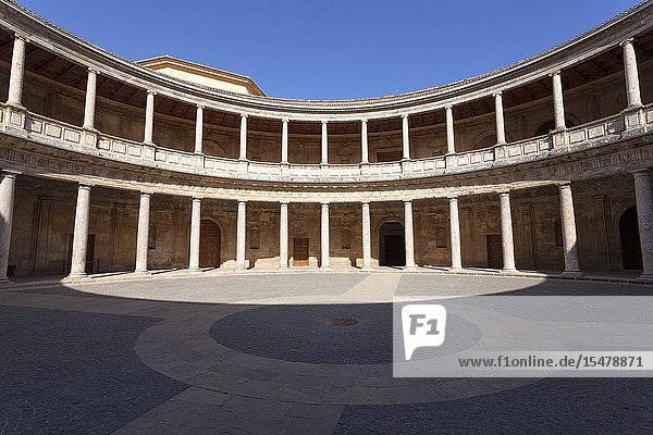 The inner courtyard of Palace of Charles V in the Alhambra  Granada  province of Granada  Andalusia  Spain.