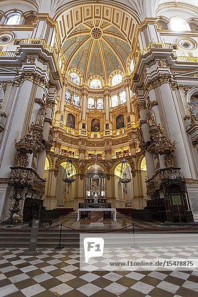 The Main Chapel of Granada Cathedral  Granada  province of Granada  Andalusia  Spain.