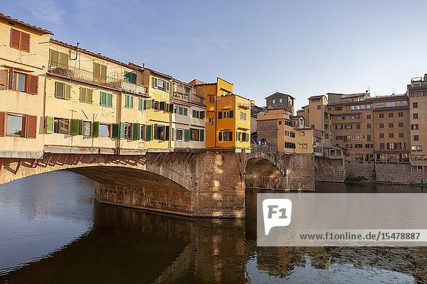 The south side of Ponte Vecchio (Old Bridge)  Florence  Tuscany  Italy.