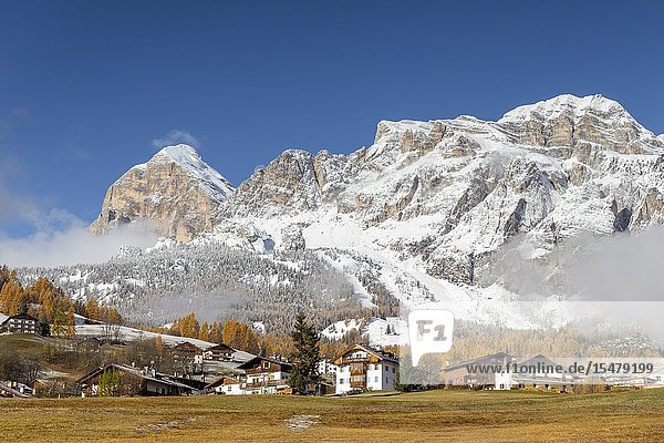 Italy Veneto Belluno district Cortina d'Ampezzo a bright autumn morning with the first snow in mountains.