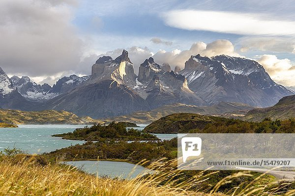 Chile Patagonia Magallanes and Chilean Antarctica Region Ultima Esperanza Province Torres del Paine National Park early morning at Lake Pehoé with Paine Horns in the background.