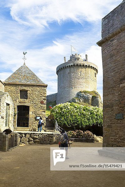 Fort la Latte Castle  Cap Fréhel  Sables d'Or les Pinse  Cote d'Armor  Ille-et-Vilaine  Brittany  France.