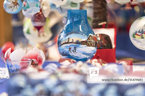 A detail of hand painted Christmas balls into the traditional Christmas Markets in South Tyrol  Bolzano province  Trentino Alto Adige  Italy.