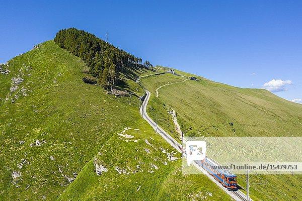 Aerial view of the Monte Generoso rack railway and train. Rovio  Lake Ceresio  Canton Ticino  Switzerland.