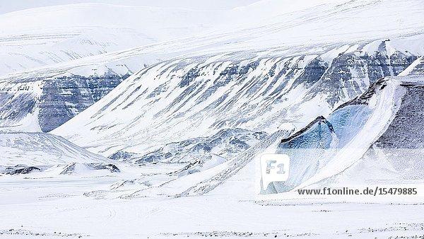 Blue ice in Billefjorden  Spitsbergen  Svalbard.