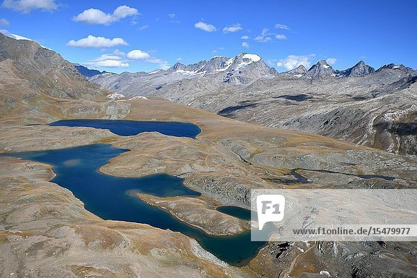 Leita' and Rosset lakes with Gran Paradiso on background Aosta Valley  Italy.