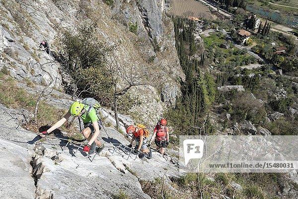 Arco  Trento province  Trentino  Italy. Climber on the via ferrata Colodri.