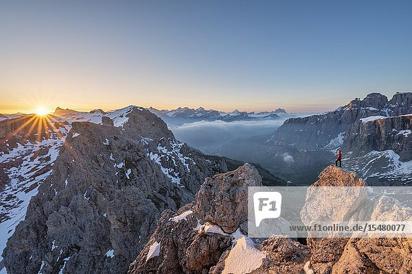 Gran Cir  Gardena Pass  Dolomites  Bolzano district  South Tyrol  Italy  Europe. A mountaineer admires the sunrise at the summit of the Gran Cir (MR).