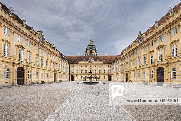 Melk  Wachau  Lower Austria  Austria  Europe. Prelate's courtyard of the Benedectine abbey.