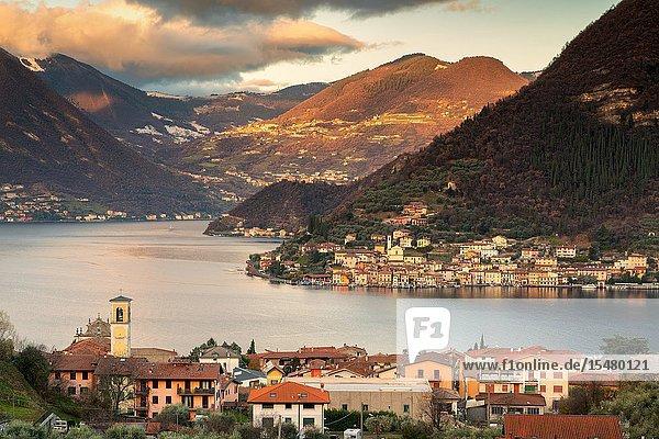 Sulzano and Peschiera Maraglio on the lake of iseo lake in Brescia province  Lombardy district  Italy  Europe.