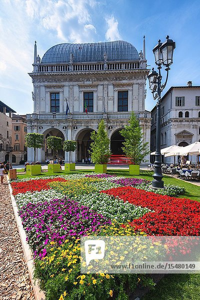 Flowers in Piazza Loggia  Brescia  Lombardy district  Italy  Europe.