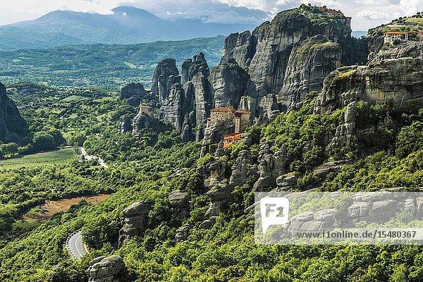 Monastery of Moni Agias Varvaras Roussanou and rocky pinnacles of Meteora  Thessaly  Greece.