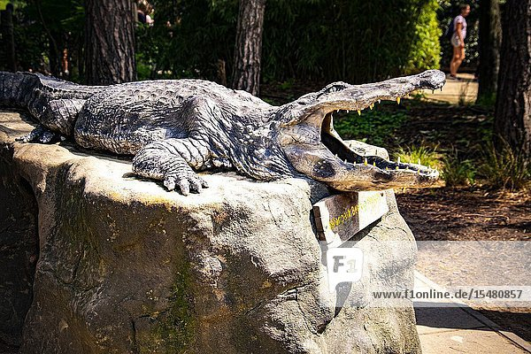 Statue of a crocodile in Beekse Bergen zoo  The Netherlands  Holland.