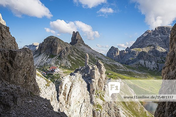 Locatelli hut  Sesto Rock and Toblin Tower shot from the trail that leads to Mount Paterno. Sesto Dolomites  Trentino Alto Adige  Italy.