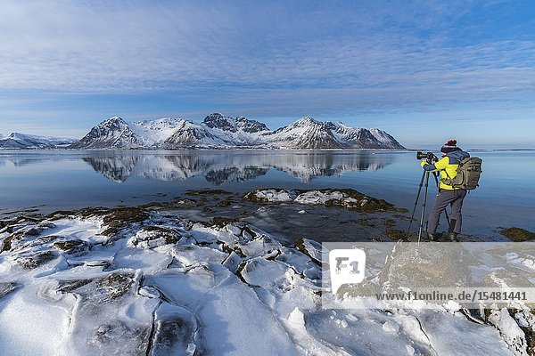 Man standing on a rock taking pictures of the Limstrandtinden snowcapped group in the background  in winter. Vestvagoy municipality  Lofoten district  Nordland county  Norway.